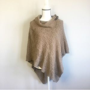 Brown cable knit cowl neck poncho